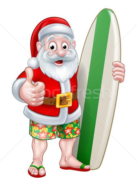 Сток-фото: шорты · доска · для · серфинга · Дед · Мороз