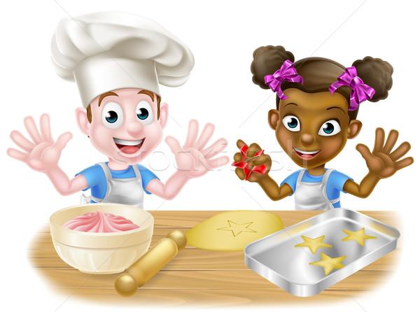 Сток-фото: Cartoon · детей · приготовления · мальчика · девушки · дети