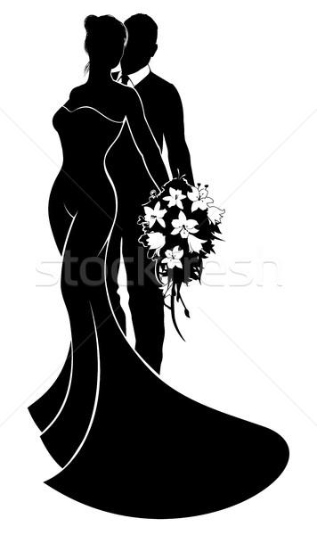 Bride and Groom Flowers Wedding Silhouette Stock photo © Krisdog