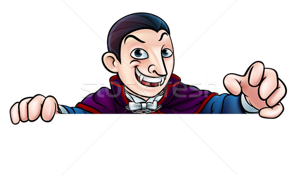 Cartoon Halloween Vampire Peeking Over Sign Stock photo © Krisdog