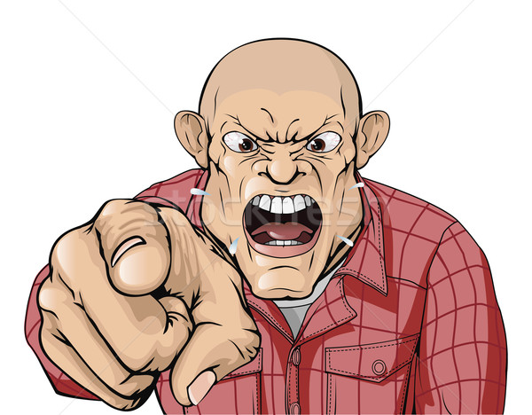 Stock photo: Angry man with shaved head shouting and pointing