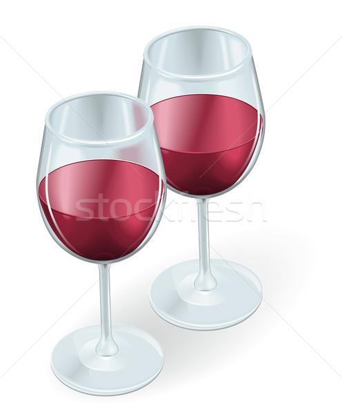 Two wine glasses illustration Stock photo © Krisdog