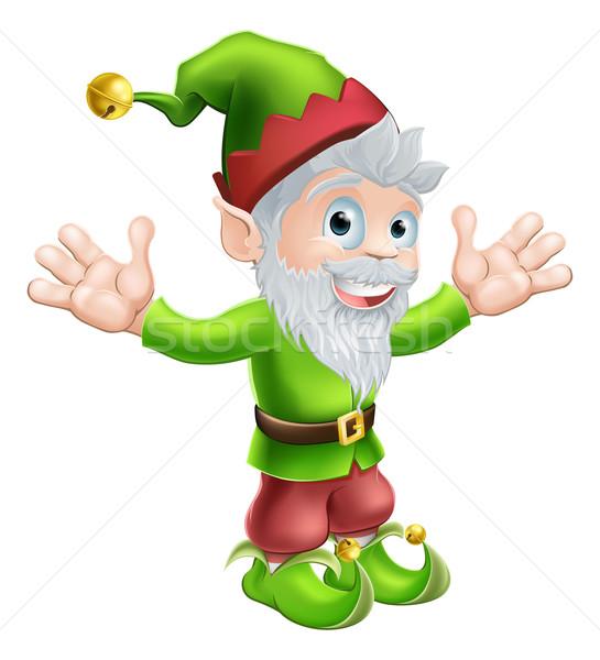 Jardín gnomo elfo Cartoon feliz sonriendo Foto stock © Krisdog