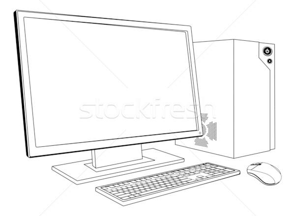 Desktop ПК компьютер рабочая станция черно белые иллюстрация Сток-фото © Krisdog