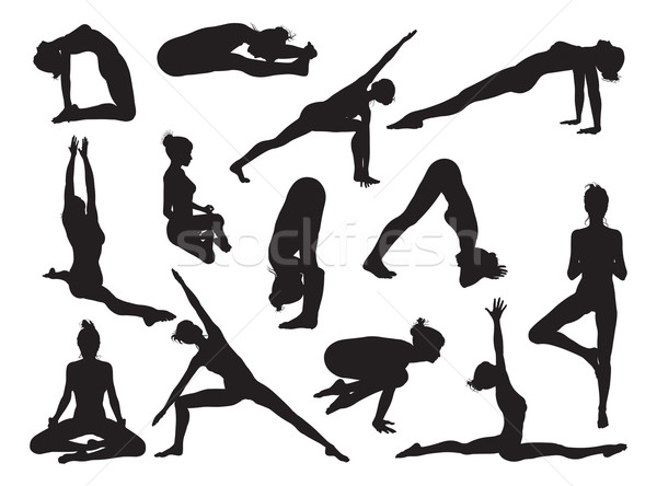 Yoga pose women silhouettes Stock photo © Krisdog