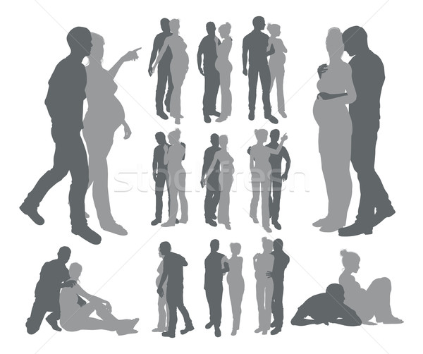 Couple silhouettes pregnant woman Stock photo © Krisdog