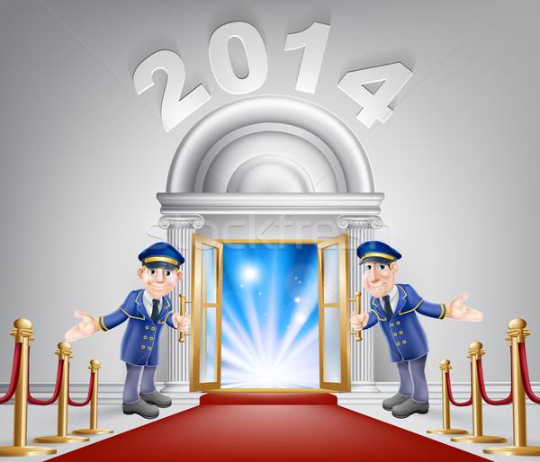 Nowy rok okazja drzwi 2014 otwartych drzwi Zdjęcia stock © Krisdog