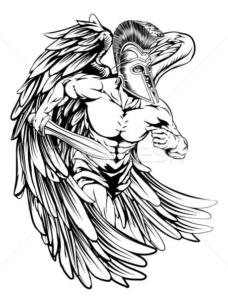 Angyal kard illusztráció harcos karakter sportok Stock fotó © Krisdog