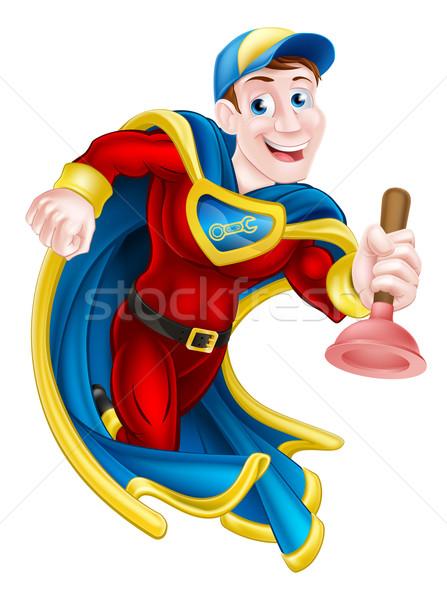 Superhero człowiek ilustracja woźny hydraulik maskotka Zdjęcia stock © Krisdog