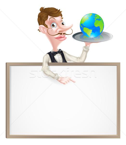 Földgömb pincér felirat illusztráció rajz tart Stock fotó © Krisdog