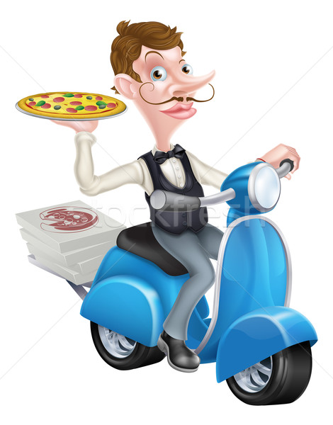 Cartoon Waiter on Scooter Moped Delivering Pizza Stock photo © Krisdog