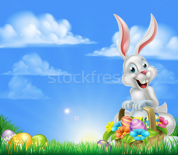Cartoon Easter Bunny witte mand vol ingericht Stockfoto © Krisdog