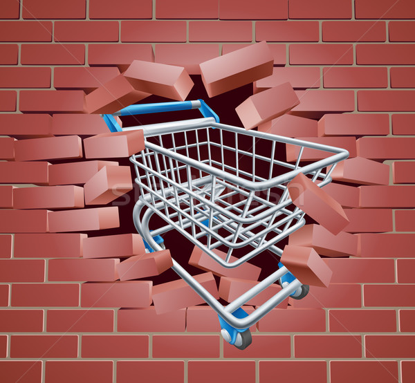 Shopping Cart Trolley Breaking Wall Stock photo © Krisdog