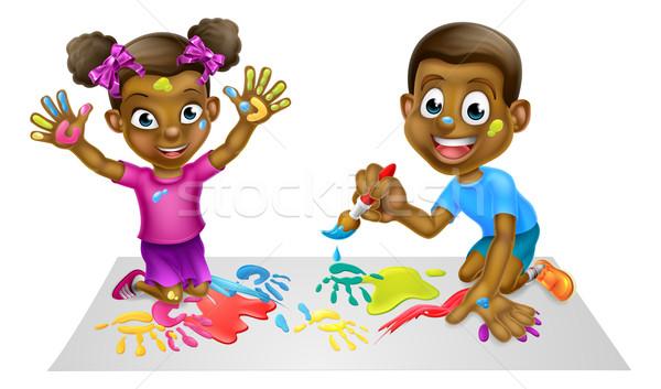 Karikatür çocuklar Boyama Siyah Erkek Kız Vektör