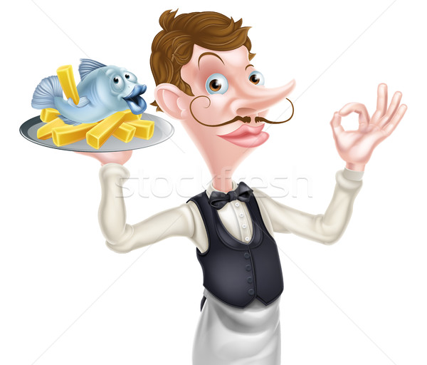 Cartoon Butler Holding Fish and Chips Stock photo © Krisdog