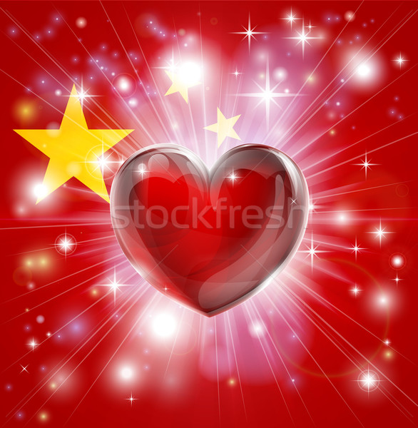 Love China flag heart background Stock photo © Krisdog