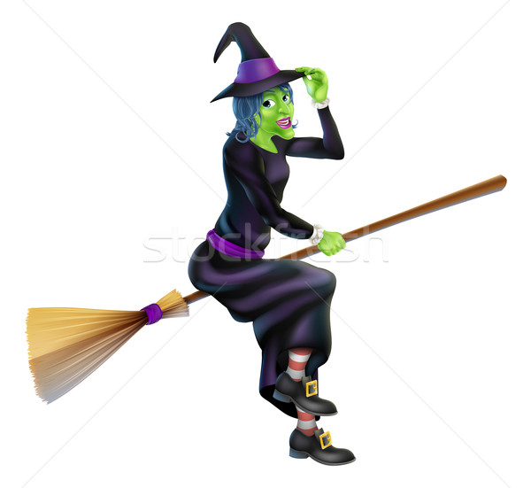 Halloween strega illustrazione felice cartoon battenti Foto d'archivio © Krisdog
