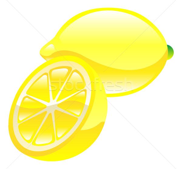 Ilustración limón frutas icono clipart fondo Foto stock © Krisdog