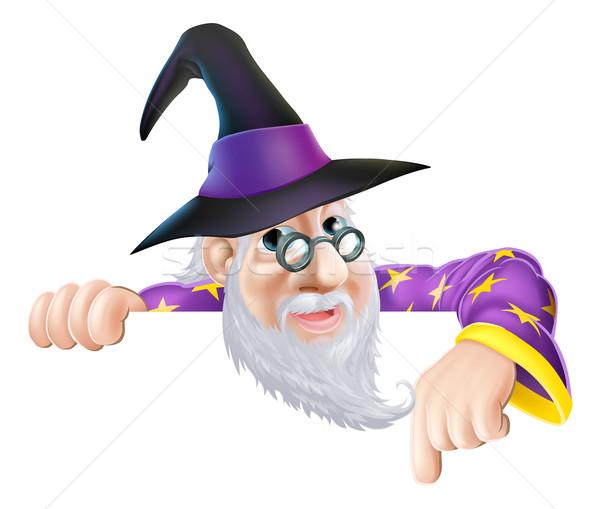 Wizard peeking over sign Stock photo © Krisdog