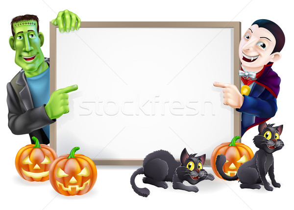 Dracula and Frankenstein Halloween Sign  Stock photo © Krisdog