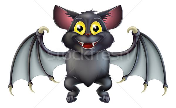 Cute halloween bat cartoon illustratie gelukkig Stockfoto © Krisdog