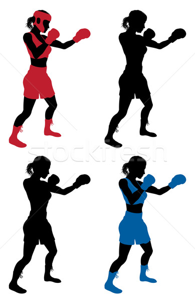 Female boxer boxing Stock photo © Krisdog