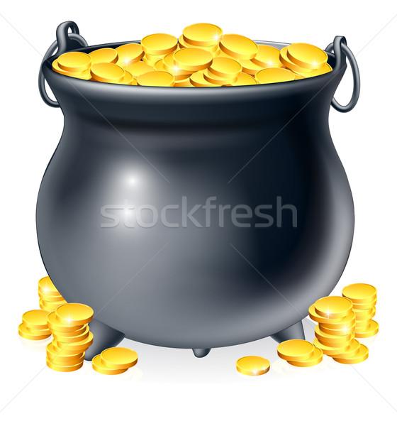 котел полный Золотые монеты иллюстрация черный банка Сток-фото © Krisdog