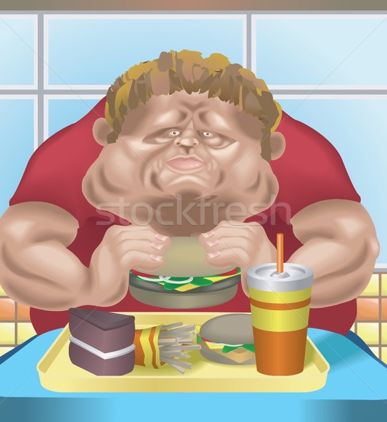 Fat man fast food Stock photo © Krisdog