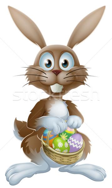 Easter Bunny chocolade eieren konijn mand Stockfoto © Krisdog