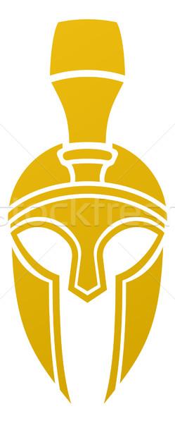 Сток-фото: спартанский · троянский · шлема · икона · сторона · дизайна