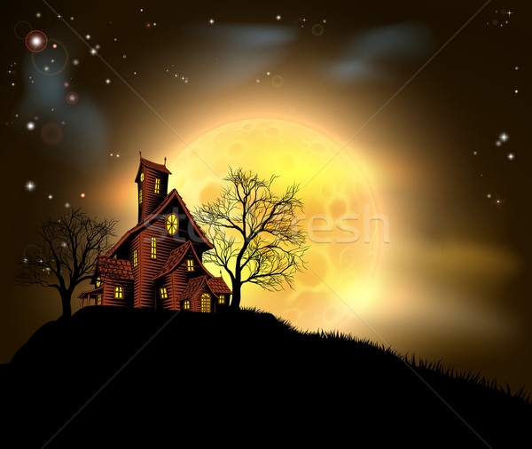 Stock photo: Halloween haunted house