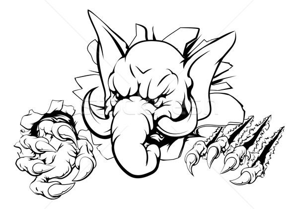 слон коготь прорыв спортивных талисман характер Сток-фото © Krisdog