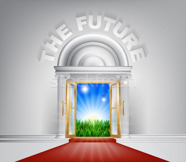 Przyszłości drzwi ilustracja szykowny patrząc czerwonym dywanie Zdjęcia stock © Krisdog