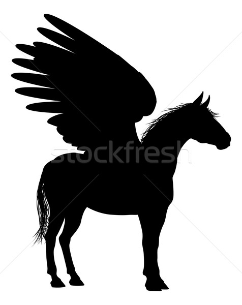 Pegasus Horse Silhouette Stock photo © Krisdog