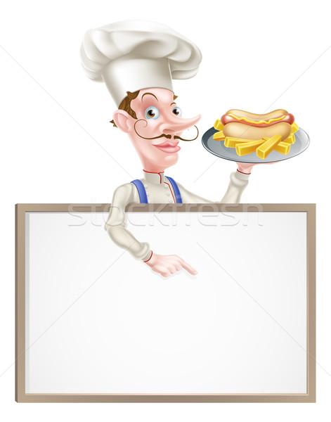 Rajz hotdog szakács fölött felirat illusztráció Stock fotó © Krisdog