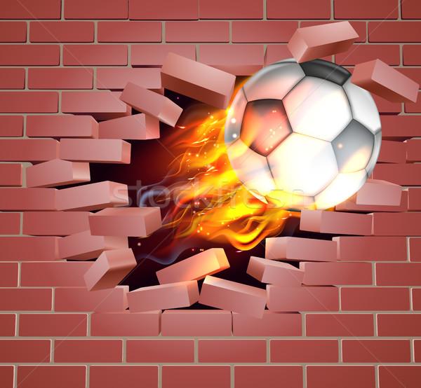 Yanan futbol futbol top tuğla duvar örnek Stok fotoğraf © Krisdog