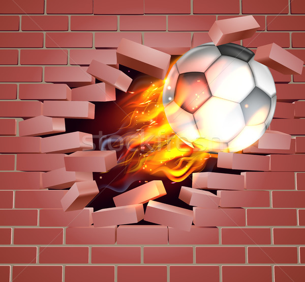 Foto stock: Llameante · fútbol · fútbol · pelota · pared · de · ladrillo · ilustración