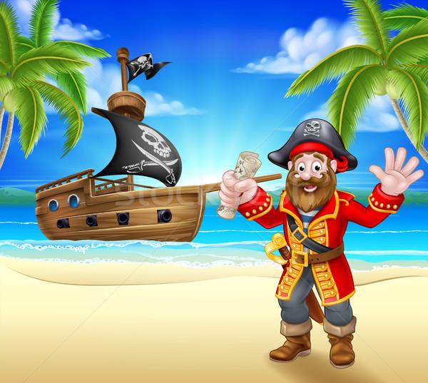 Cartoon Pirate on Beach Stock photo © Krisdog