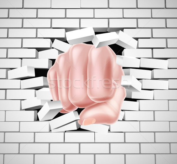 Vuist witte muur hand man baksteen Stockfoto © Krisdog