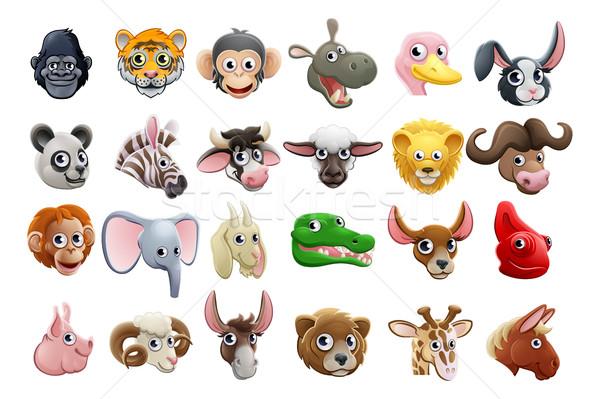 Cartoon Animal Faces Icon Set Stock photo © Krisdog