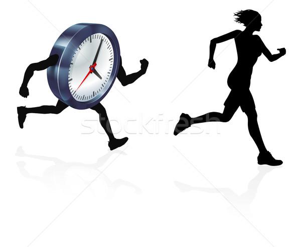 Idő nyomás nő futó sziluett fut Stock fotó © Krisdog