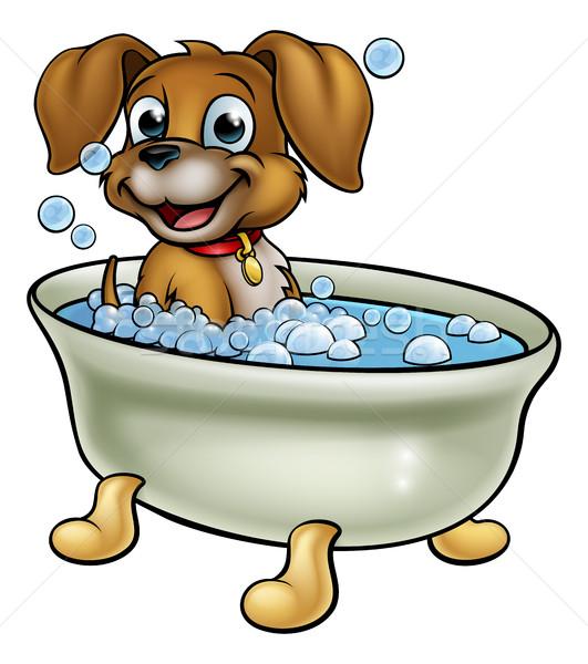 Chien bain cartoon temps drôle nettoyage Photo stock © Krisdog