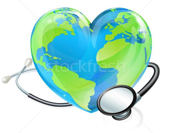 Concept Stethoscope Heart Earth World Globe Health  Stock photo © Krisdog