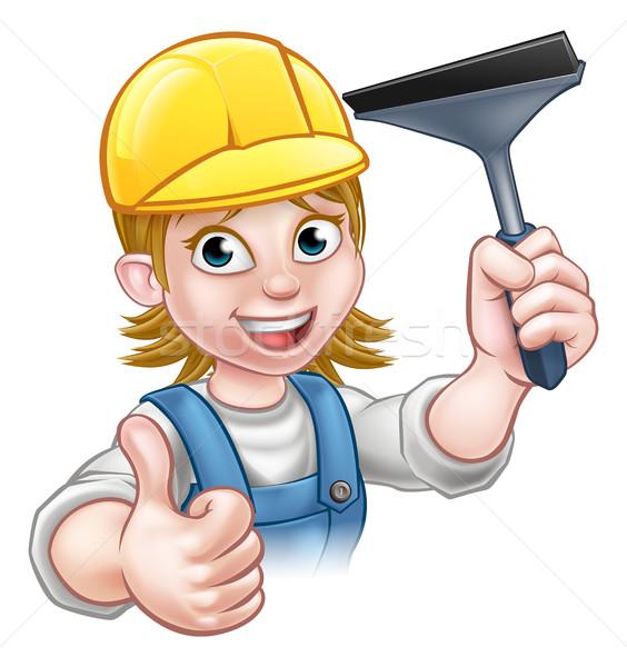 Desenho animado mulher limpador de janelas handyman Foto stock © Krisdog
