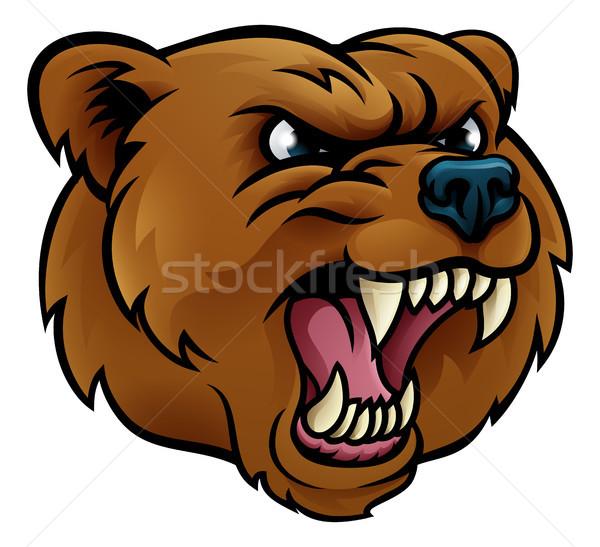 Sport mascotte boos gezicht beer Stockfoto © Krisdog