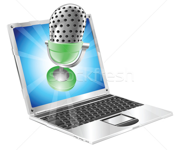 Microphone flying out of laptop screen concept Stock photo © Krisdog