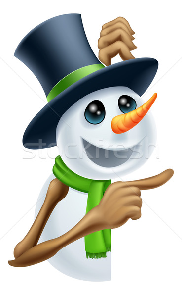 Сток-фото: снеговик · Рождества · сообщение · Top · Hat