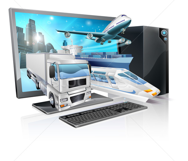 Desktop pc logistics concept Stock photo © Krisdog