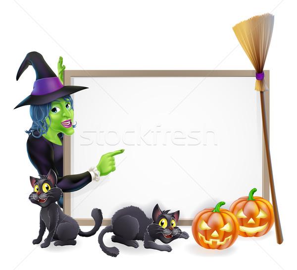 Halloween strega segno frame zucca di halloween nero Foto d'archivio © Krisdog