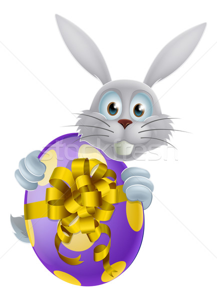 Giant Easter egg and white bunny Stock photo © Krisdog